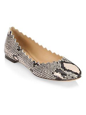 Chloe lauren python-embossed leather ballet flats