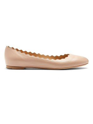 Chloe Lauren Scallop Edge Leather Ballet Flats