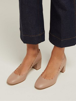 Chloe lauren scallop edge leather pumps