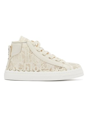 Chloe lauren scallop-edge logo-lace high-top trainers
