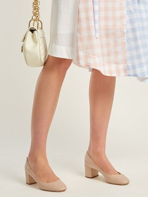 Chloe Lauren scallop-edged leather pumps