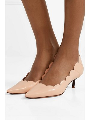 Chloe lauren scalloped glossed-leather pumps
