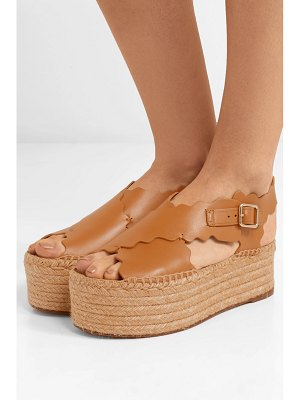 Chloe lauren scalloped leather espadrille platform sandals