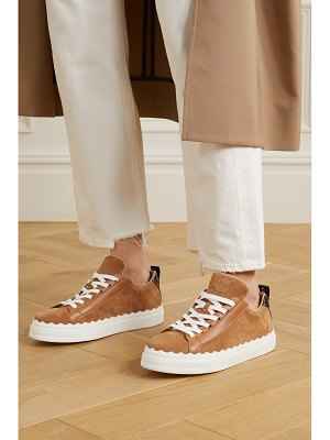 Chloe lauren scalloped leather-trimmed suede sneakers