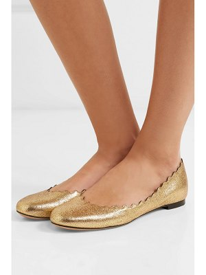 Chloe lauren scalloped metallic cracked-leather ballet flats