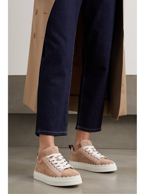 Chloe lauren scalloped suede and leather sneakers