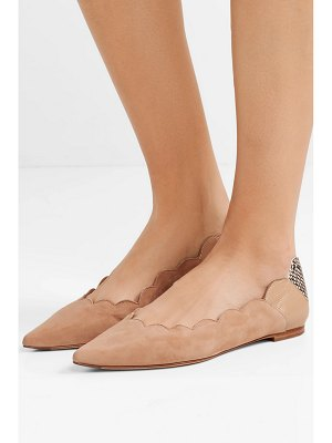 Chloe lauren scalloped suede and snake-effect leather point-toe flats