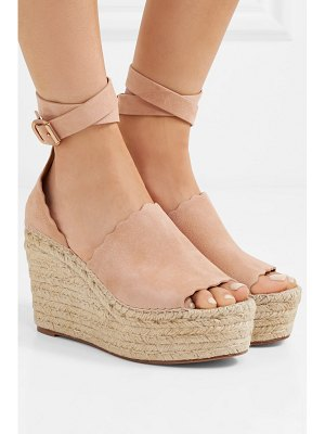 Chloe lauren scalloped suede espadrille wedge sandals