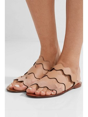 Chloe lauren scalloped textured-leather and suede slides