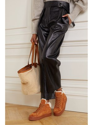 Chloe lauren shearling-lined scalloped suede high-top sneakers