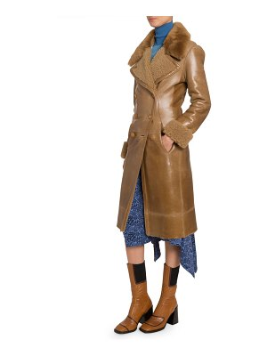 Chloe Leather Double-Breasted Coat