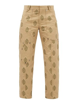 Chloe logo-jacquard cropped cotton trousers