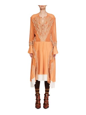 Chloe Long-Sleeve Silk Mousseline Lace-Inset A-Line Dress