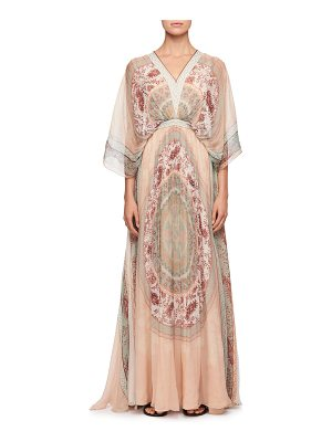 CHLOE Mandala-Print V-Neck Kaftan Evening Gown