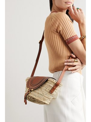 Chloe marcie small straw and textured-leather shoulder bag