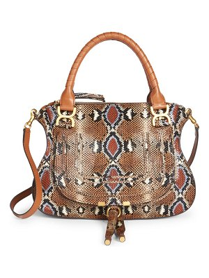 Chloe medium marcie python-print leather satchel