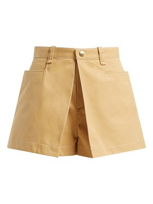 Chloe Mid Rise Cotton Gabardine Shorts