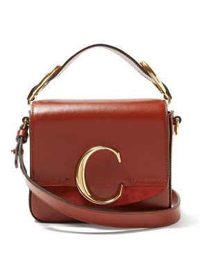 Chloe mini c leather and suede crossbody bag