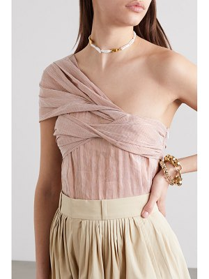 Chloe one-shoulder striped linen-blend top