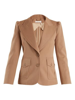 Chloe Peak Lapel Single Breasted Wool Blend Jacket