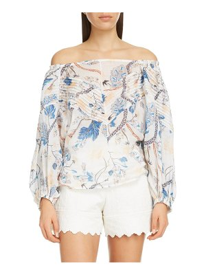 Chloe pintucked floral print off the shoulder blouse