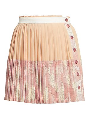 Chloe pleated floral button silk mini skirt