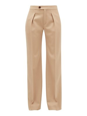 Chloe pleated wide-leg wool-blend trousers