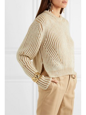 Chloe ribbed two-tone wool-blend sweater