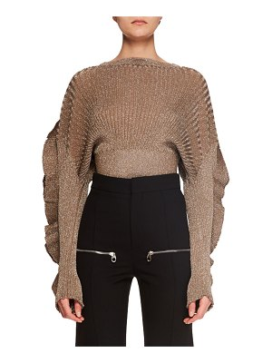Chloe Ruffle-Sleeve Metallic-Ribbed Short Sweater
