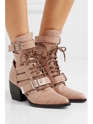Chloe rylee cutout croc-effect leather ankle boots
