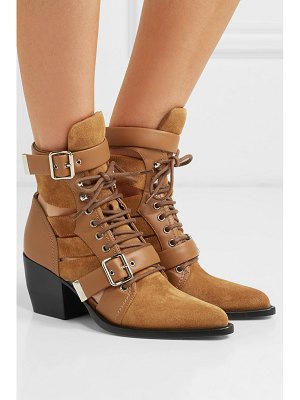 Chloe rylee cutout suede and leather ankle boots