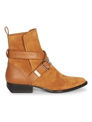 Chloe rylee suede strap western ankle boots