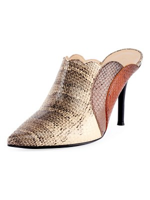 Chloe Scalloped Python-Printed Mules