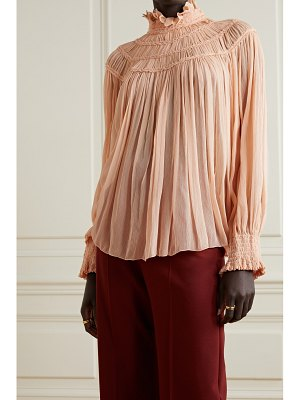 Chloe shirred embroidered silk-crepon blouse