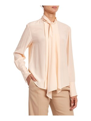 Chloe Silk Crepe de Chine Tie-Neck Blouse
