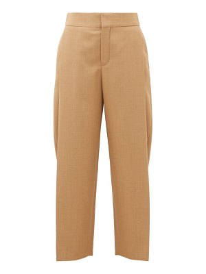 Chloe single-pleat cropped wool trousers