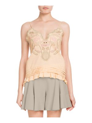 Chloe Sleeveless Thin-Strap Cotton Voile Top w/ Blossom Embroidery