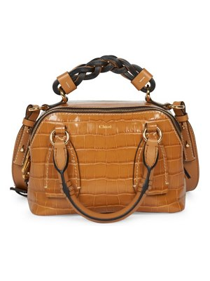 Chloe small daria croc-embossed leather satchel