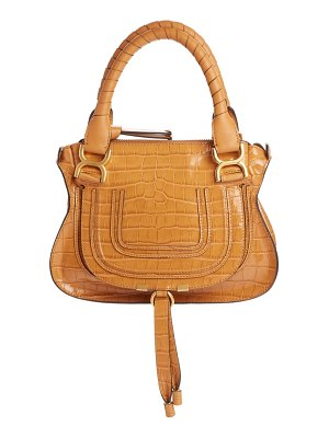 Chloe small marcie croc embossed leather satchel