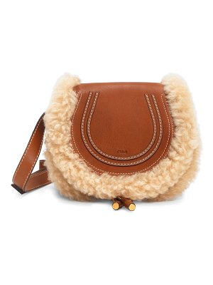 Chloe small marcie shearling-trimmed leather saddle bag