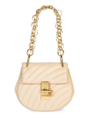 CHLOE Small Quilted Drew Goldtone Jewelry Detail Leather Bag