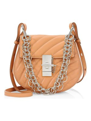 Chloe small quilted drew silvertone jewelry detail leather bag
