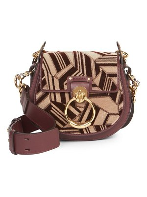 Chloe small tess geometric & leather saddle bag