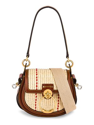 Chloe small tess raffia crossbody bag