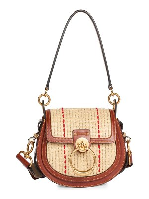 Chloe small tess raffia & leather saddle bag