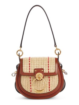 Chloe small tess woven raffia & leather shoulder bag