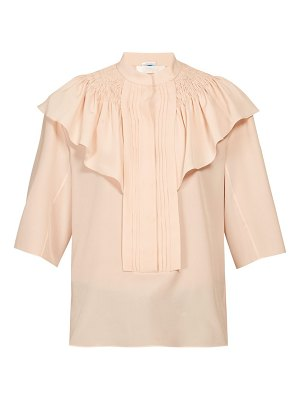 Chloe smocked and ruffle shoulder crepe blouse