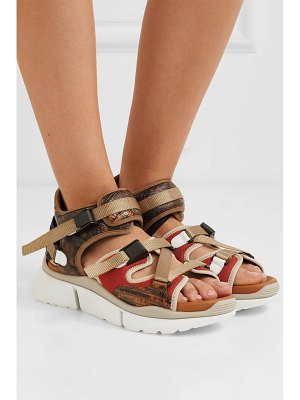 Chloe sonnie canvas, mesh and snake-effect leather sandals