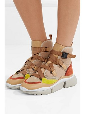 Chloe sonnie canvas, mesh, suede and leather high-top sneakers