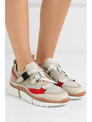 Chloe sonnie canvas, mesh, suede and leather sneakers